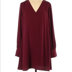 Burgundy/ Red Dress With Buttoned Cuffed Sleeves